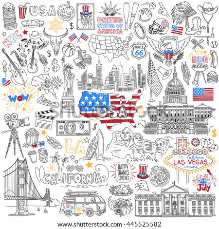 USA hand drawn outline vector set. United States Of America popular symbols and landmarks - fast food, jazz, skyscrapers, landmarks, map silhouette, flag, eagle, presidents, dollar, sport, cinema.