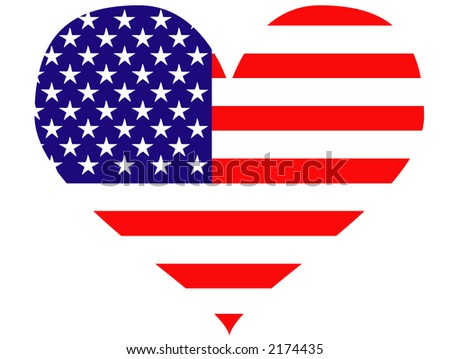 USA heart - vector illustration