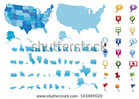 USA highly detailed map.All elements are separated in editable layers clearly labeled Vector