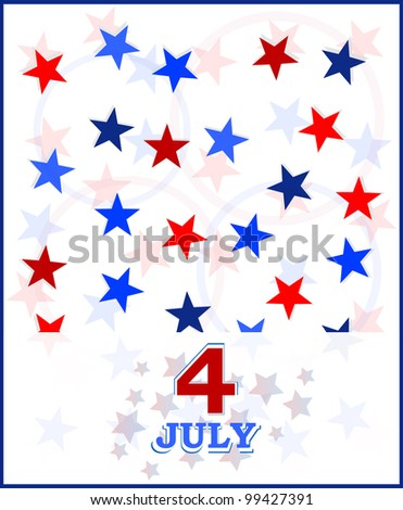 Usa holiday on July vector card