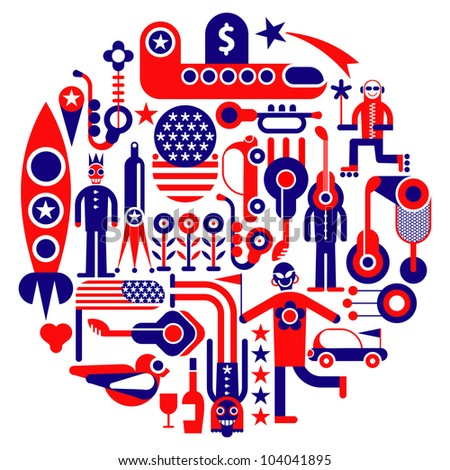 USA Icons - round vector illustration. Red, blue and white colors.