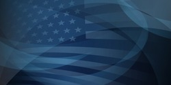 USA independence day abstract background with elements of the american flag in dark blue colors
