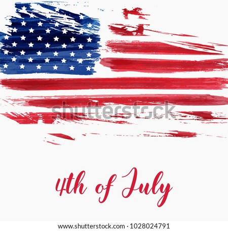 USA Independence day background. Happy 4th of July. Vector abstract grunge brushed flag with text. Template for banner, greeting card, invitation, poster, flyer, etc. #1028024791