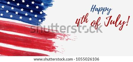 USA Independence day background. Happy 4th of July. Vector abstract grunge brushed flag with text. Template for horizontal banner. #1055026106