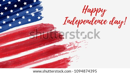 USA Independence day background. Happy 4th of July. Vector abstract grunge flag with text. Template for horizontal banner, greeting card, invitation, poster, flyer, etc. #1094874395