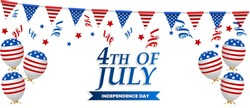 USA Independence Day banner template American flag balloons decor. 4th of July celebration poster template. Vector illustration
