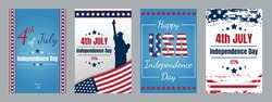 USA Independence day cards. Set of Independence Day cards. 4th of July greeting cards. United States of America day. Independence Day. Vector illustration.