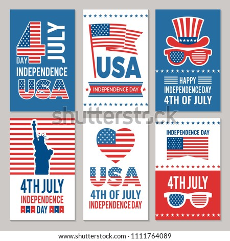 USA Independence day cards. Template of various 4 july labels of America identity vector illustration