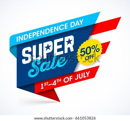 USA Independence Day sale banner. Vector illustration.