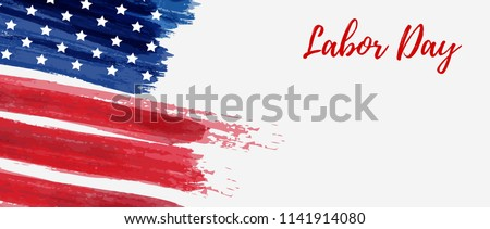 USA Labor day holiday background. Grunge abstract flag. Template for holiday banner. #1141914080