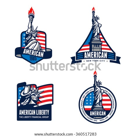 Shutterstock USA Liberty Statue Logo Badge design vector templates. American 4th July. United States of America symbols of Freedom Justice Truth Equity Honor Patriotism Democracy Logotype. Independence day banners