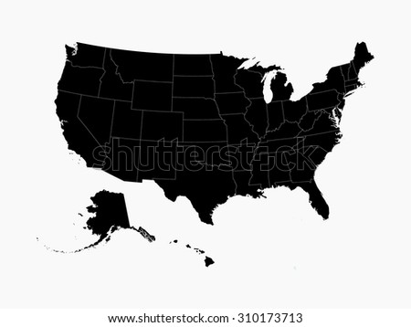 usa mainland black map