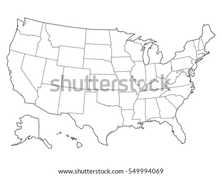 Free US Map Silhouette Vector - Sketch drawing us with states map