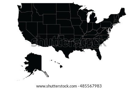 usa map black color