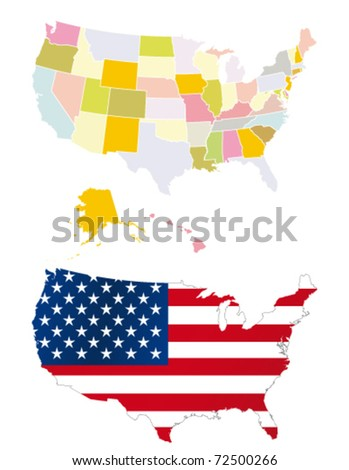 Usa map. Detailed map. Each is separate layer for easy editing