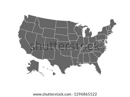 USA map for atlas vector icon isolated on white background .
