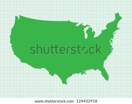 usa map  green on graph paper
