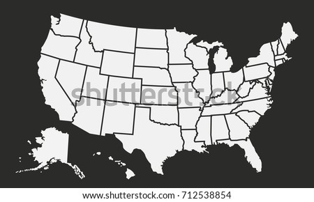 United States Map Vector - Download Free Vector Art, Stock Graphics on white map of usa states, map of 50 us states, black and white map of usa with c d, black and white canada map with provinces, black us map, black united states map,