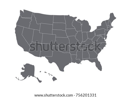 USA map isolated on white background