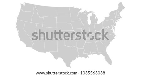 USA map isolated on white background. United States of America country. Vector template for website, design, cover, infographics