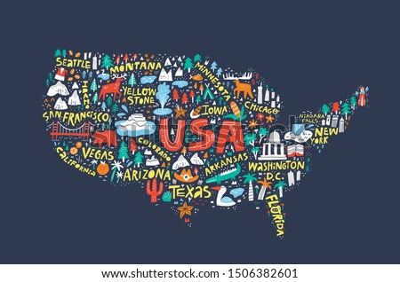 USA map on dark blue background flat illustration. United States of America infographic with cities, landmarks names doodle cliparts. Travel destinations and routes cartoon drawing. Postcard design