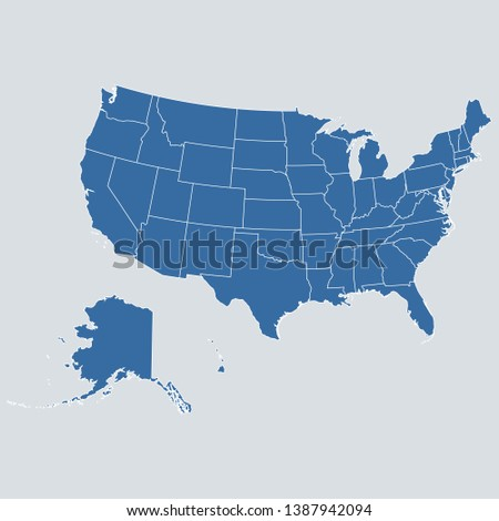 USA map on gray background vector, USA Map Outline Shape Blue on White Vector Illustration, High detailed Gray illustration map USA. Symbol for your web site design map logo. app, ui, eps10.
