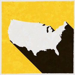 USA map on retro poster with long shadow. Vintage sign with grunge effects. Vector illustration, easy to edit, manipulate, resize or colorize.
