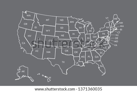 USA map outline vector with state names on black background illustration