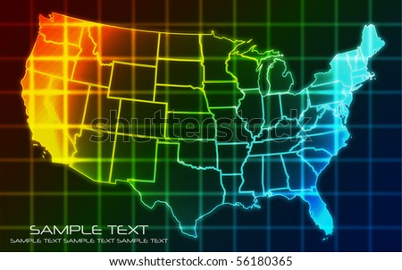 USA Map - Technology Background