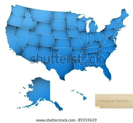USA map - United States of America with all 50 states - blue color - isolated on white - Vector