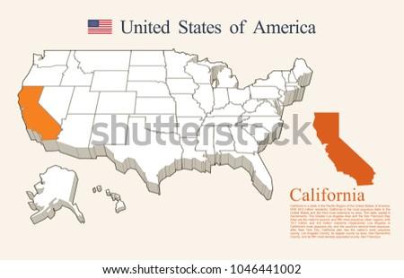 USA map vector, California