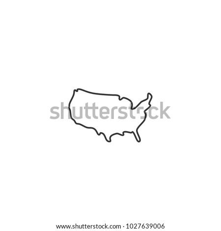 USA map - vector thin line icon