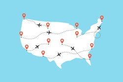 USA map with airplane flight paths on a blue background