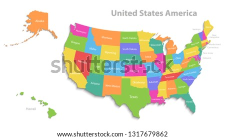 Map Of America 3d Vector.Colorful Florida Map Vector Download Free Vector Art Stock