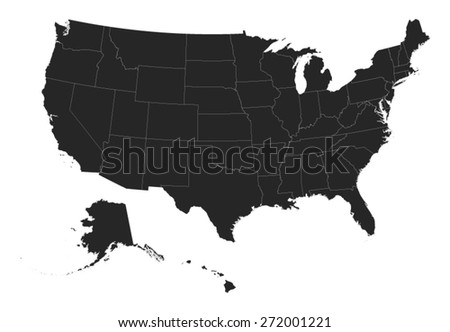 Free US Map Silhouette Vector - Us map vector ai