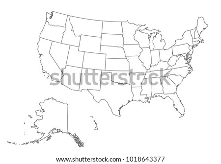 usa map with country borders thin black outline on white background high detailed vector