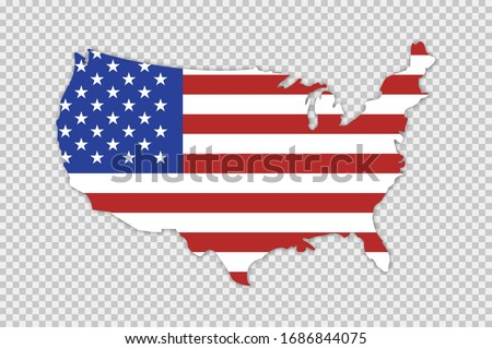 USA map with flag and shadow on transparent background. Vector isolated illustration. Geography concept. EPS 10