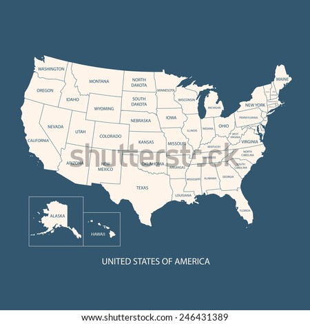 USA MAP WITH NAME OF COUNTRIES,UNITED STATES OF AMERICA MAP, US MAP flat illustration vector