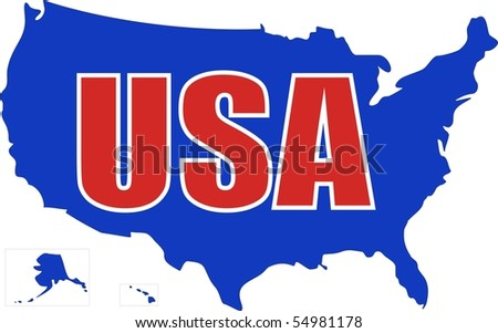 USA MAP with red and white letters