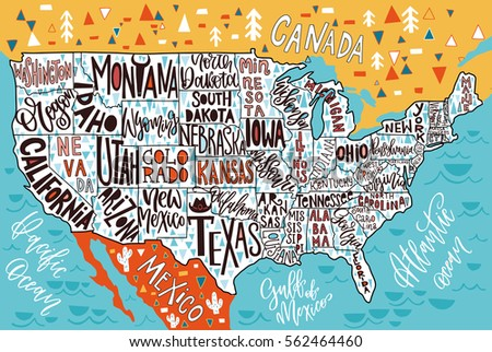 Hand Drawn Us Map.Texas State Lettering Download Free Vector Art Stock Graphics