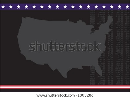 usa map with vertical financial number