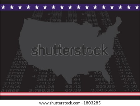 usa map with vertical financial number in perspective