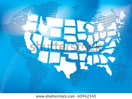 USA map with world map in dots in background