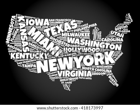usa map word cloud collage with