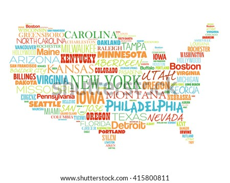 USA Word Map Download Free Vector Art Stock Graphics Images - Portland usa map