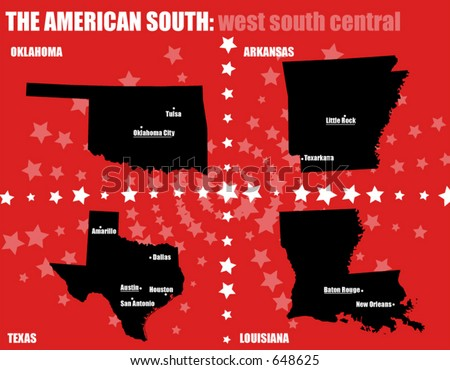 USA maps - The American South - West South Central states. Contains capital and bigger cities. All elements are separable and editable. (Vectors 18) - stock vector