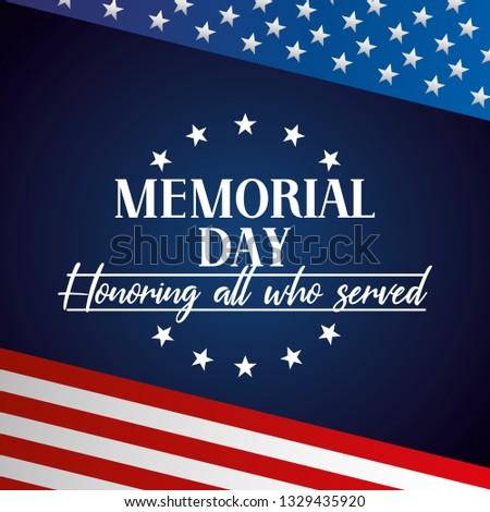 USA Memorial day colorful card vector digital image illustration #1329435920