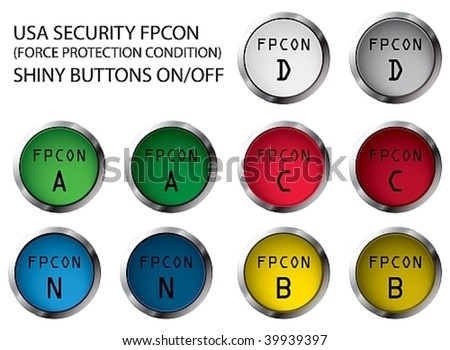USA military FPCON shiny buttons On/Off, vector illustration