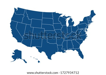 USA modern map with federal states in blue color isolated on white background vector illustration eps 10 Stockfoto ©