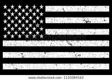 USA National Flag Grunge Black and White. Vector.